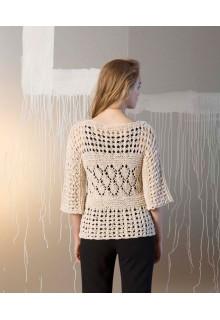 Strikkekit sød bluse med hulmønster