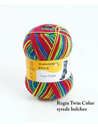 Strømpegarn Regia Twin i syrede farver. Syrede bolcher med striber i fræk dyb blodrød, neongrøn og elektrisk blå