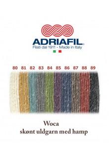 Uldgarn med hamp Wocca, Adriafil farvekort over alle skønne farver, strikkegarn