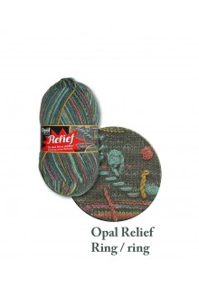 Strømpegarn. Relief - strømpegarn med et twist! Blå, karry, grøn og gule farver på antracitsort bund.