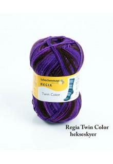 Strømpegarn Regia Twin i syrede farver. Festlige lilla striber i flere nuancer med sorte striber