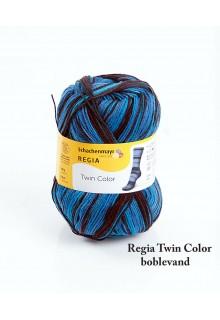 Strømpegarn Regia Twin i syrede farver. Boblende glade blå farver