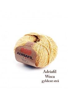 Uldgarn med hamp Wocca, Adriafil gyldenstrå. Douchet skøn brændt gylden farve, strikkegarn