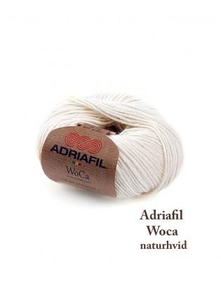 Uldgarn med hamp Wocca, Adriafil i en skøn naturhvid farve, strikkegarn