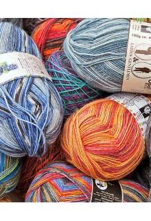 Strømpegarn tilbud Vilde Opal stort miks med mange skønne farver og mønstre i Opals selvmønstrende strømpegarn