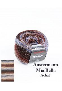 Strikkegarn uld og polyacryl  Mia Bella med skønne brede farveforløb. Dristige brune blå og lyserøde nuancer - Achat