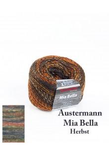 Strikkegarn uld og polyacryl Mia Bella med skønne brede farveforløb. Herbst - efterårsfarver med et strejf af petrolblå.