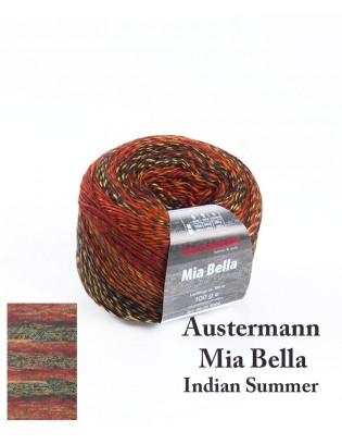 Strikkegarn uld og polyacryl Mia Bella med skønne brede farveforløb i skønne varme brune og gyldne nuancer - Indian Summer