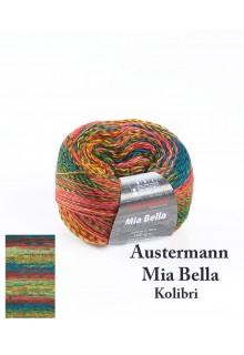 Strikkegarn uld og polyacryl  Mia Bella med skønne brede farveforløb. Friske gule, grønne og røde nuancer - Kolibri