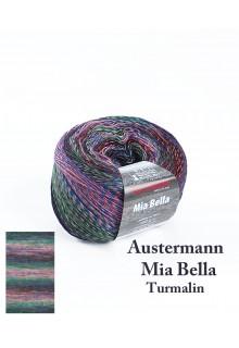 Strikkegarn uld og polyacryl  Mia Bella med skønne brede farveforløb. Lyserød grøn og blågrå farver - Turmalin