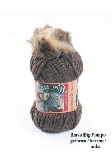 Bravo Big Pompon akrylgarn strikkekit til en hue i grå med brun/karamel pompon i kunstpels.