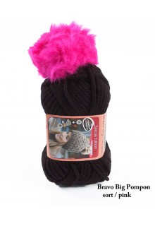 Bravo Big Pompon akrylgarn strikkekit til en hue i sort med pink pompon i kunstpels.