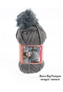 Bravo Big Pompon akrylgarn strikkekit til en hue i stengrå med antracitgrå pompon i kunstpels.
