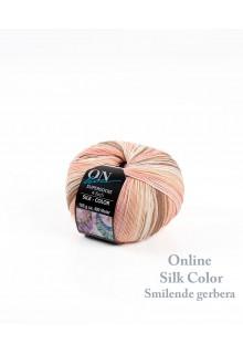 Strømpegarn med silke i varme laksefarvede og brune nuancer