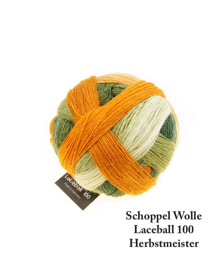 Laceball 100 Herbstmeister, Schoppel Wolle. Garnnøgle med skønne gylden oliven striber, råhvid og en glad orange.